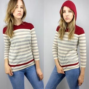 Calvin Klein casual striped hooded pullover.